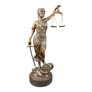 """18"""" Tall Blind Justice Law Bronze Sculpture on Marble Base Statue"""