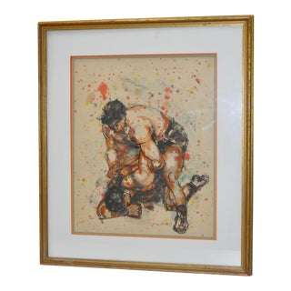 "Mid-Century Modern ""Wrestlers"" Watercolor"