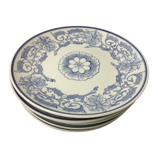 Chinoiserie Blue & White Floral Plates - Set of 5