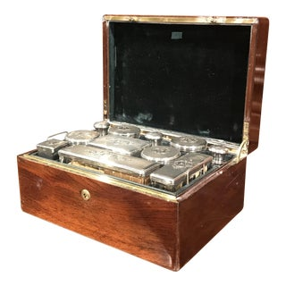 19th Century French Rosewood Travel Vanity Case with Glass Silver Bottles Dated