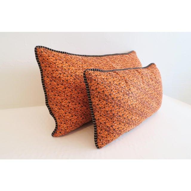 Custom Orange Pattern Pillows - a Pair - Image 3 of 4