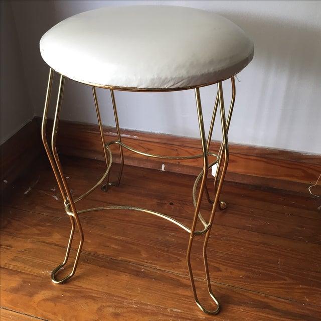 Image of Vintage Brass & White Vanity Stool