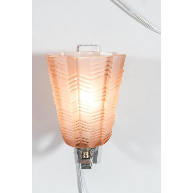 Pair of Art Deco/Skyscraper Style Nickel and Frosted Rose Glass Sconces - Image 3 of 8