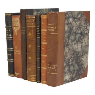 Vintage Leather-Bound Books - Set of 7