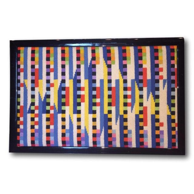 Vintage Needlepoint Geometric Op Art - Image 5 of 5