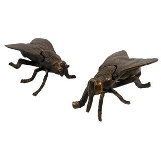 Vintage Bronze Bug Fly Ashtrays - A Pair