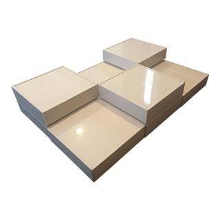 White Stackable Coffee Tables - Set of 9