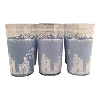 60's Grecian Motif Periwinkle Glasses - Set of 6