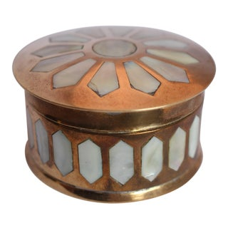 Vintage Brass & Mother of Pearl Box
