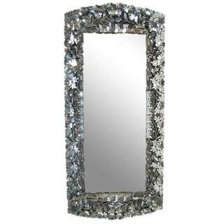 Floral Hand-Cut Glass Mirror