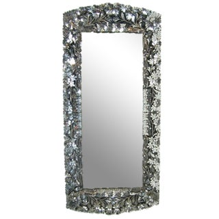 Floral Hand-Cut Glass Mirror