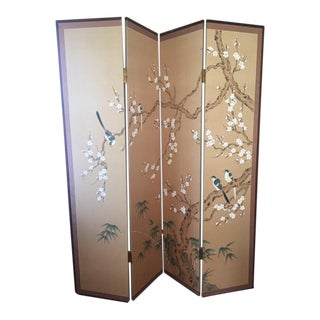 Japanese Hand Painted Silk Folding Screen