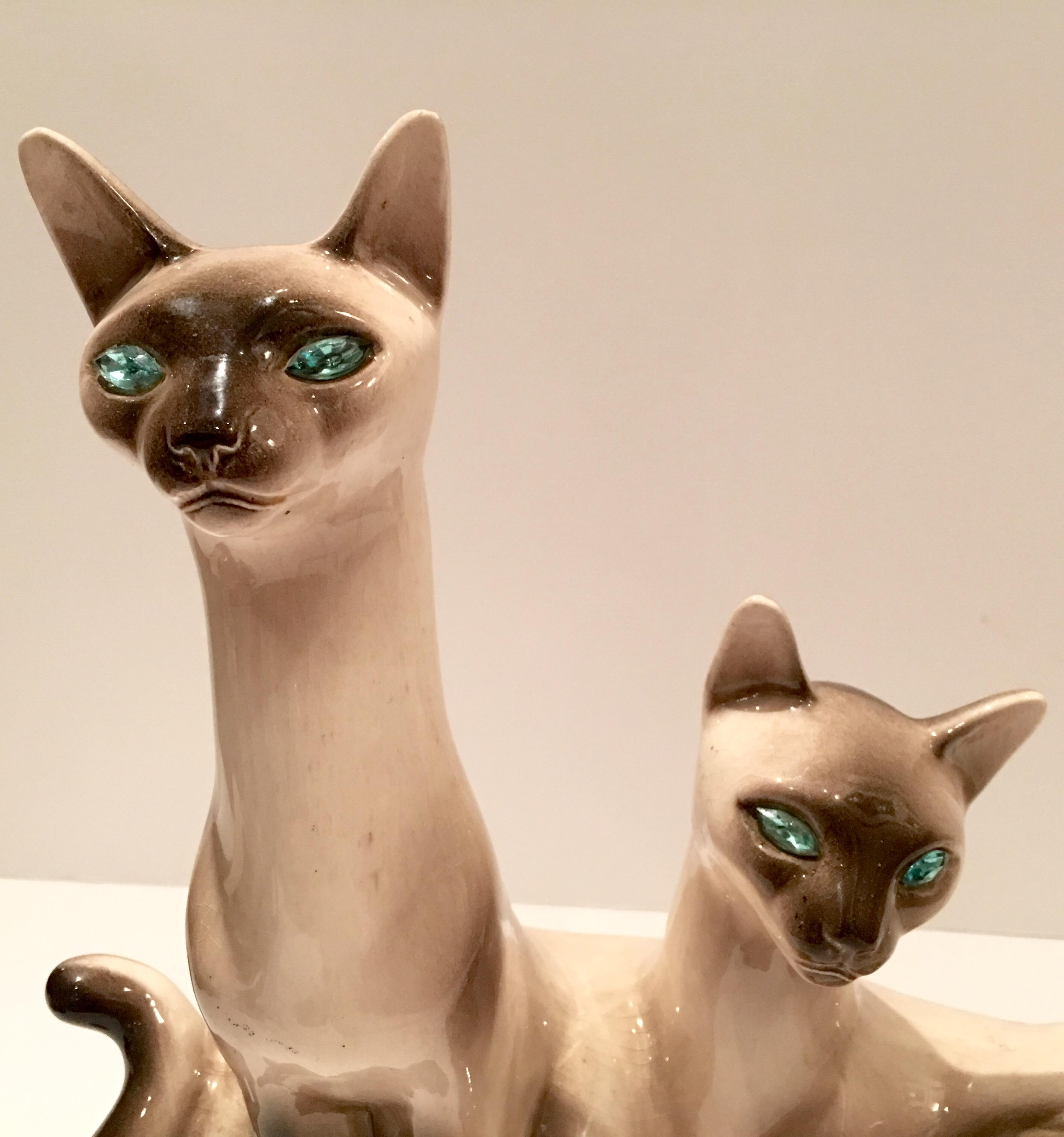 Vintage Siamese Twin Ceramic Cat Lamps A Pair Chairish