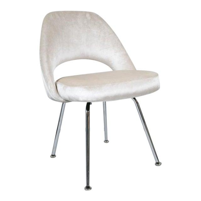 Saarinen Executive Armless Chair in Ivory Velvet - Image 1 of 9