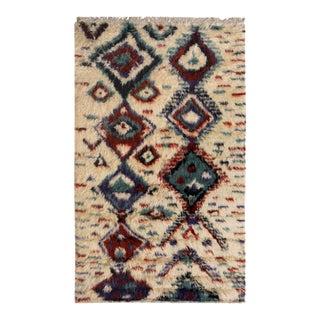 "Moroccan Arya Dario Ivory & Red Wool Rug - 4'11"" x 7'10"""