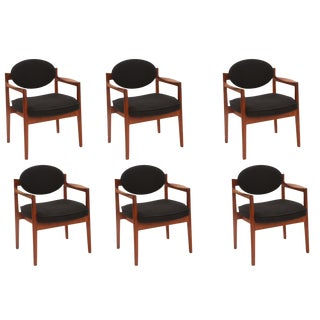 Six Sculpted Walnut Armchairs by Jens Risom
