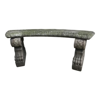 Vintage Concrete Garden Bench Claw Feet