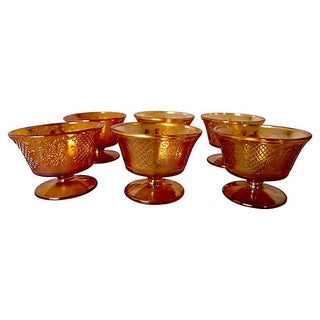 Antique Carnival Glass Sherbert Cups - Set of 6