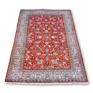 Bird Motif Persian Qum Rug - 6′8″ × 9′7″