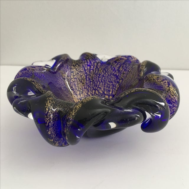 Murano Cobalt Blue Art Glass Bowl - Image 2 of 6