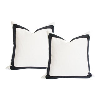 "Solid White With Grosgrain Ribbon Border Pillow Covers - a Pair 17""sq"