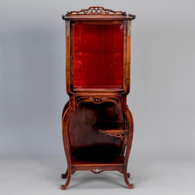 Tall Narrow Chinese Carved Wood Vitrine Display Cabinet - Image 11 of 11