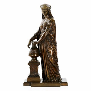 Antique Egyptian Revival Patinated Bronze Sculpture of a Woman