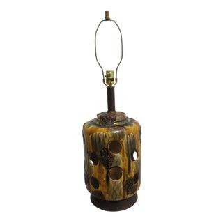 Vintage Mid-Century Brutalist Ceramic Glazed Lava Table Lamp