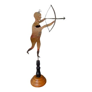 American Folk Art Primitive Sheet Metal Weathervane in the Form of an Indian