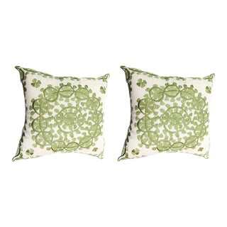 Handmade Moroccan Silk Embroidered Green Pillow- A Pair