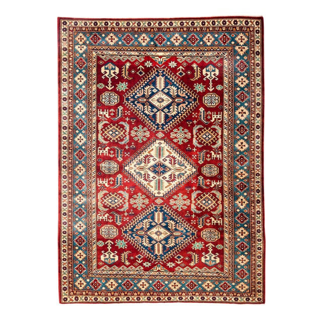 """New Traditional Hand Knotted Area Rug - 5'3"""" x 6'7"""" - Image 1 of 3"""