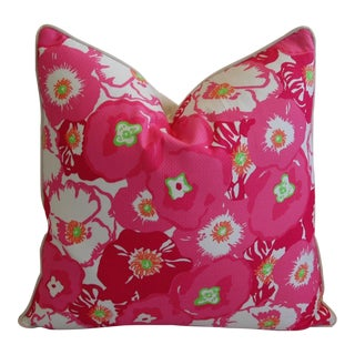 """24"""" X 24"""" Lilly Pulitzer-Inspired/Style Pink Begonia Blossom Pillow"""