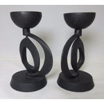 Image of Scultpural Japanese Iron Candleholders - A Pair