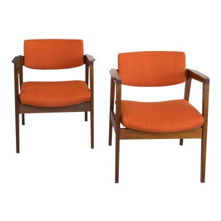 Gunlocke Walnut Armchairs