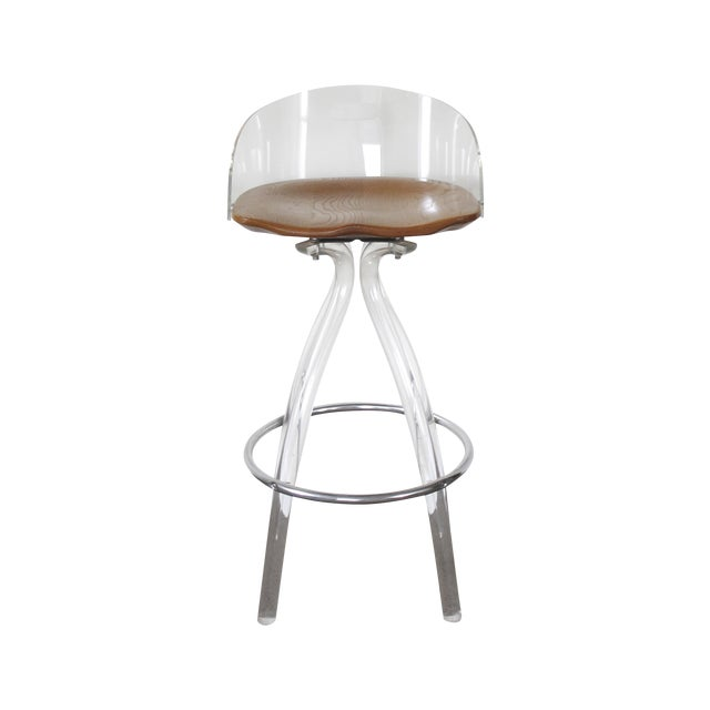 Lucite & Wood Bar Stool - Image 1 of 9