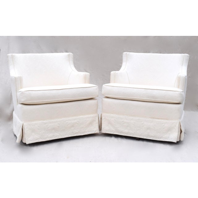 Image of Swivel Rocking Club Chairs - A Pair