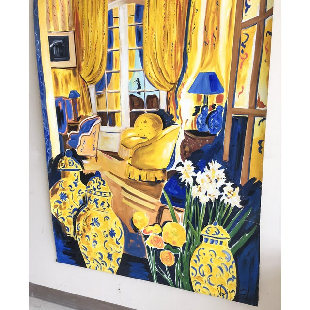 Cheerful French Salon Scene in Blue & Yellow - Image 4 of 10