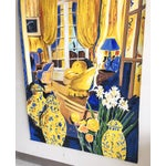 Image of Cheerful French Salon Scene in Blue & Yellow