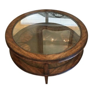 Stanley Furniture Glass Top Round Coffee Table