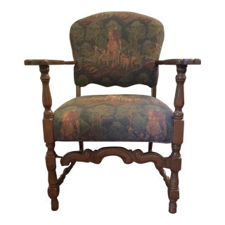 English Hunt Scene Tapestry Accent Chair
