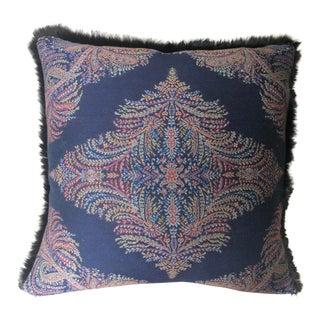 Ralph Lauren Navy Paisley With Fur Pillow
