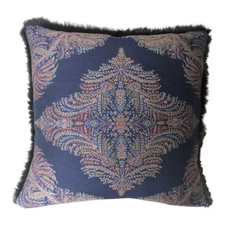 Ralph Lauren Navy Paisley With Fur Pillow