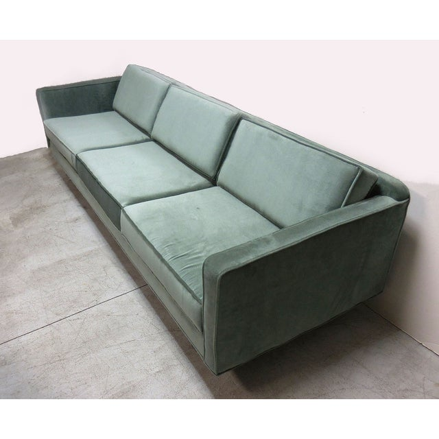 Image of Mid-Century Modern Green Sofa With Lucite