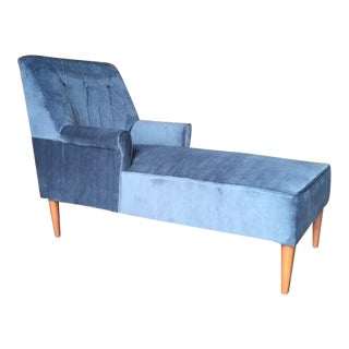 Mid Century Reupholstered Tufted Extended Lounge Chair