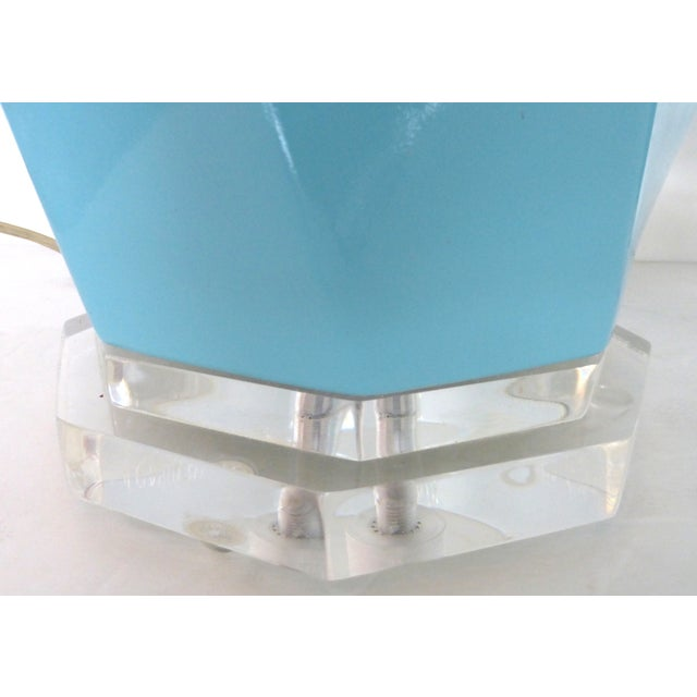 Image of Bauer Lucite, Ceramic & Brass Table Lamps - Pair