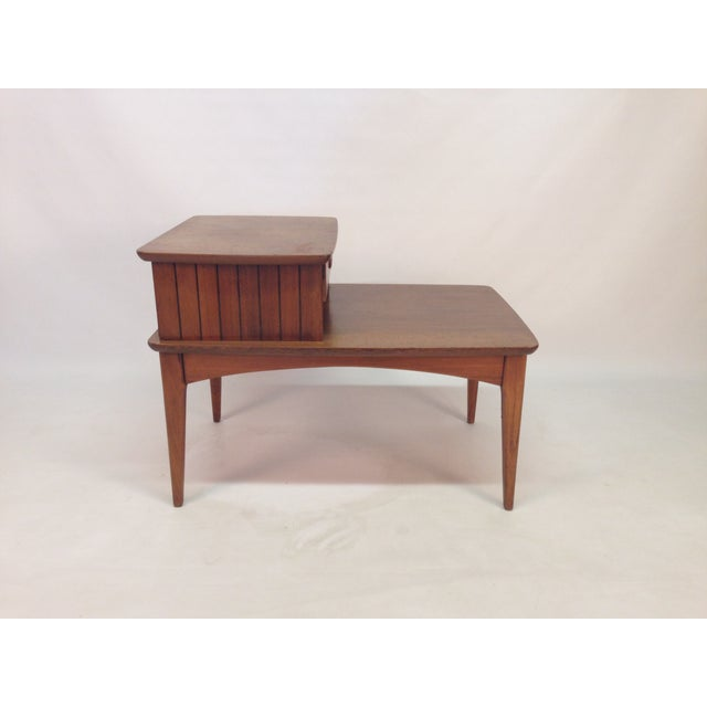 mid century modern two tier side table chairish. Black Bedroom Furniture Sets. Home Design Ideas