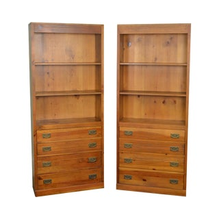 Pine Open Bookcases w/ Drawers - A Pair