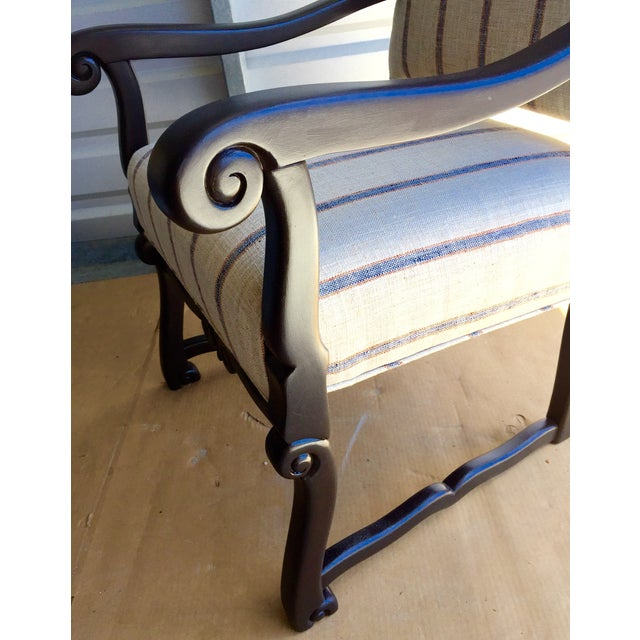 Blue & Beige Striped Accent Chair - Image 5 of 5