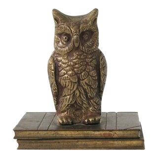 Vintage Brass Owl Figure With Books