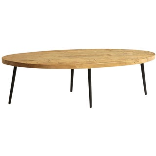 Mid Century Modern Style Oval Reclaimed Wood Coffee Table